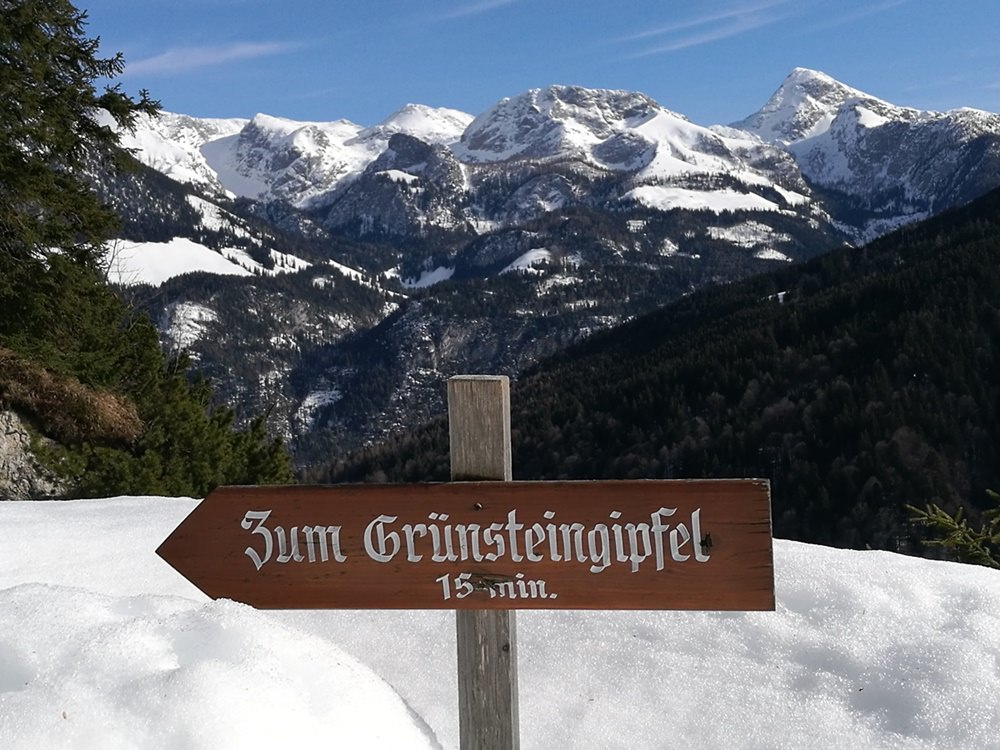 Blick von der Grünsteinhütte auf die Berchtesgadener Berge