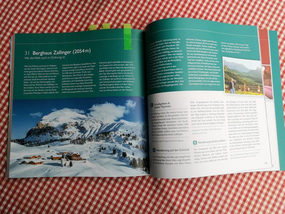 """Die Zallinger Hütte auf der Seiser Alm, im Reisebuch """"Ein Date mit dem Berg"""""""