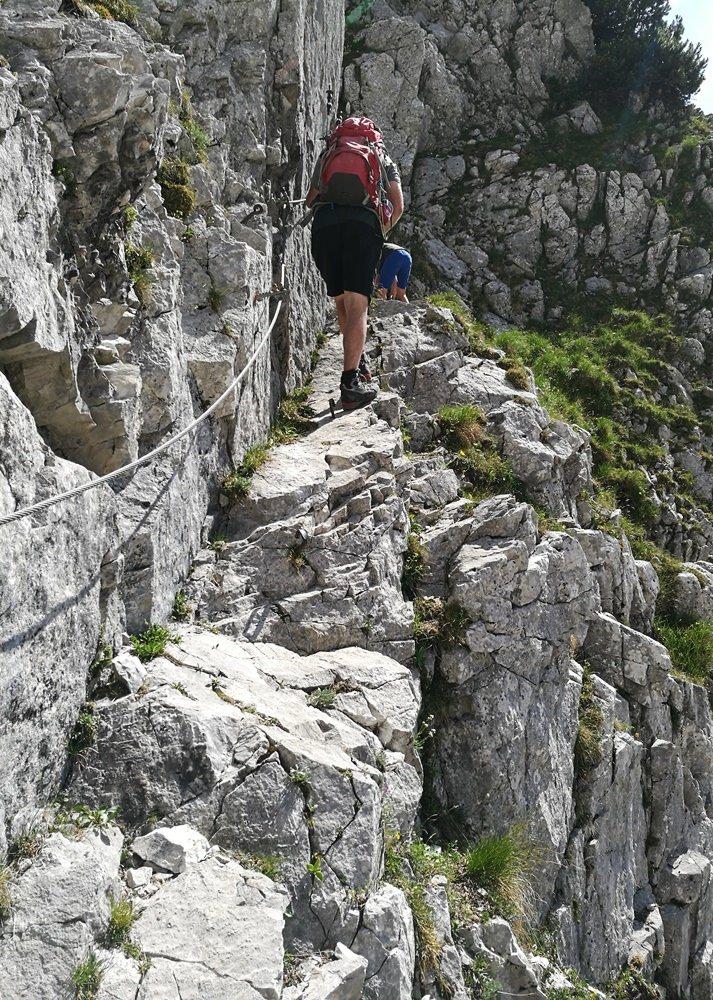 Klettersteig Passage auf dem Weg zur Pyramidenspitze