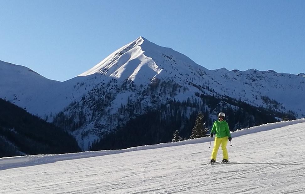 Skifahren mit Kulisse