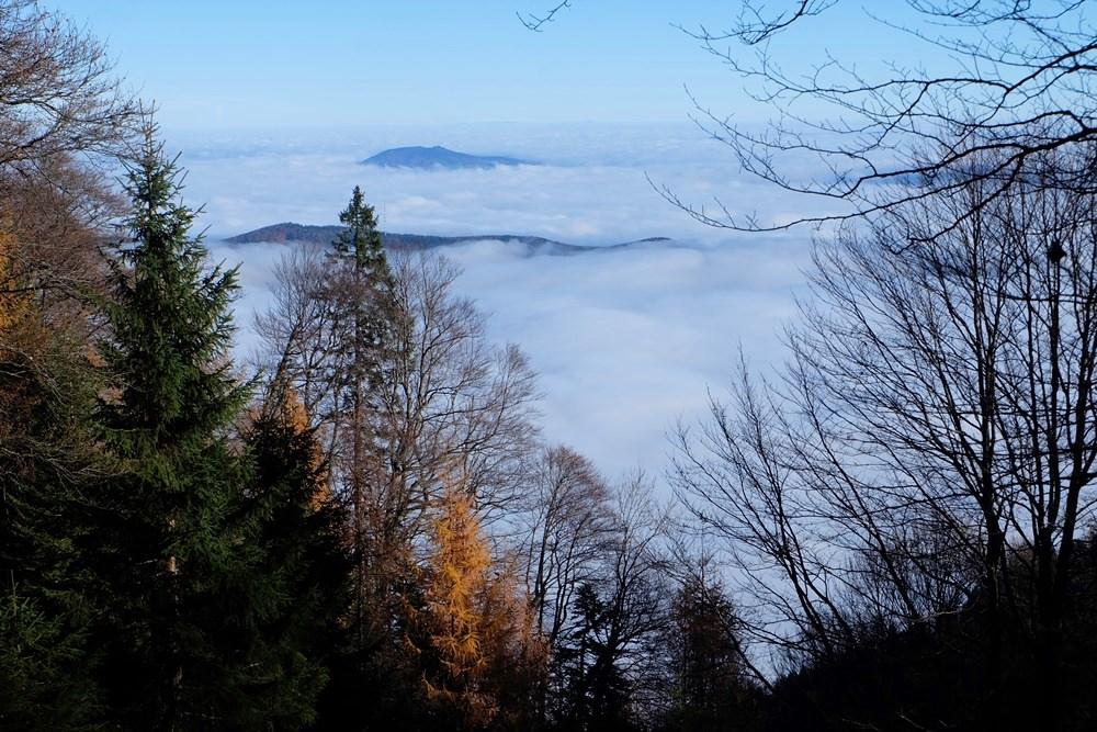 Herbst am Hochstaufen: der Berg in der Sonne, das Tal im Nebel