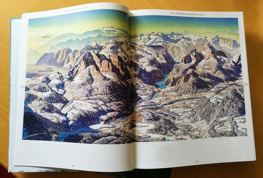 Panoramakarte Berchtesgaden und Salzburger Nordalpen aus dem Bildband Alpen - Die Kunst der Panoramakarte