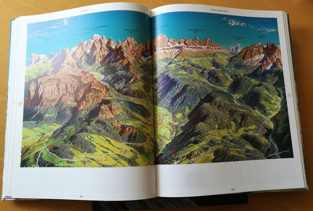 Panoramakarte Schlern und Rosengarten in den Dolomiten