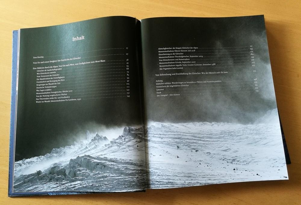 Inhaltsverzeichnis im Bildband Alpengletscher