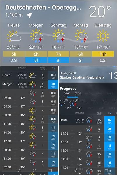 Screenshots aus der Bergfex Wetterapp für Deutschnofen