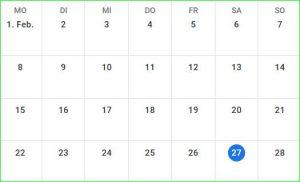 Februar-Kalender, so ordentlich.